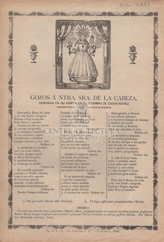 Gozos á Ntra. Sra. de la Cabeza, venerada en su ermita en el termino de Casas-Ibanez obispado de Cartagena