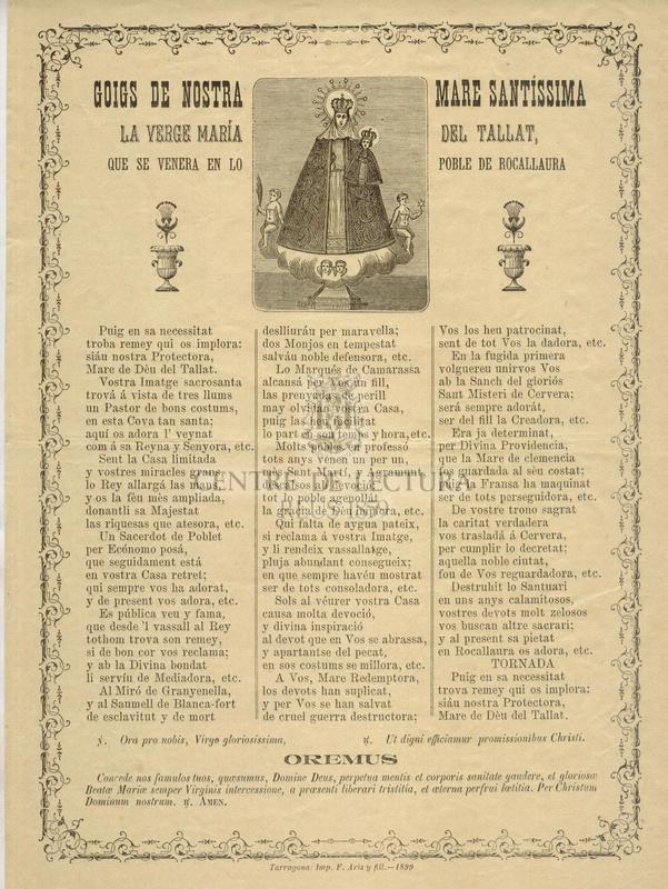 Goigs de Nostra Senyora Mare Santíssima la Verge María del Tallat, que se venera en lo Poble de Rocallaura