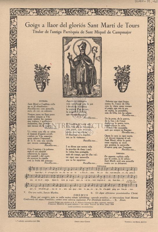 Goigs a llaor del gloriós Sant Martí de Tours. Titular de l'antiga Parròquia de Sant Miquel de Campmajor