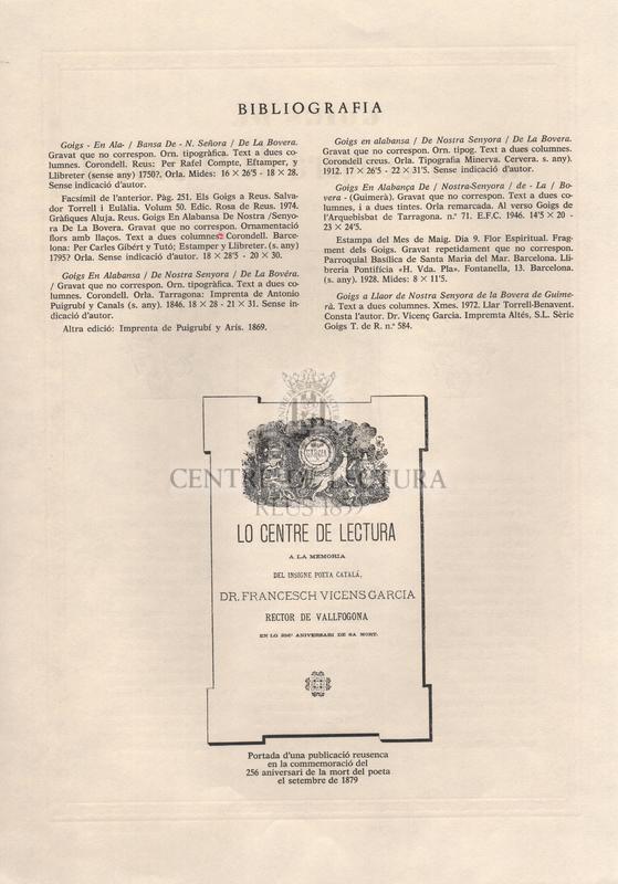 Goigs de Nostra Senyora de la Bovera venerada a la seva ermita de Guimerà