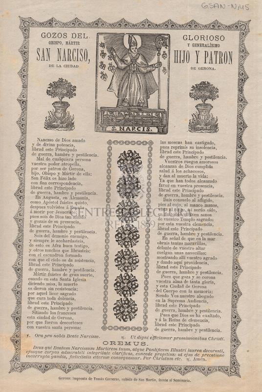 Gozos del glorioso obispo, mártir y generalísimo San Narciso, hijo y patrón de la ciudad