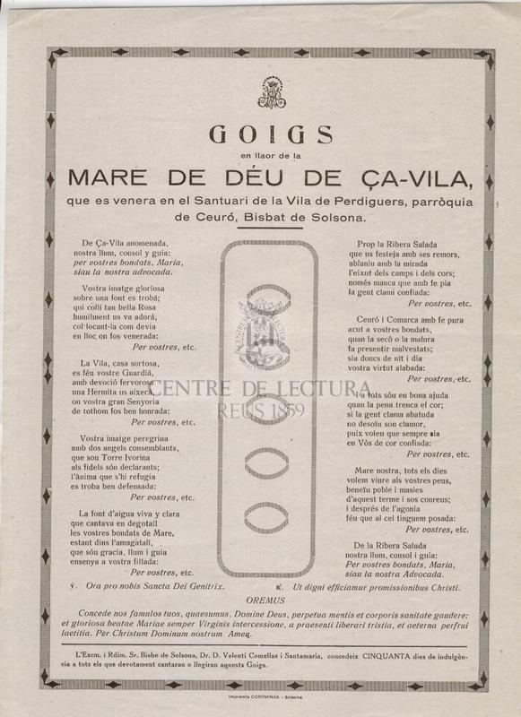 Goigs en llaor de la Mare de Déu de Ça-Vila, que es venera en el Santuari de la Vila de Perdiguers, parròquia de Ceuró, Bisbat de Girona