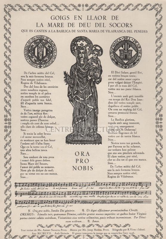 Goigs en llaor de la Mare de Déu del Socors que es canten a la Basílica de Santa Maria de Vilafranca del Penedès.