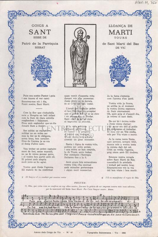 Goigs a lloança de Sant Marti, Bisbe de Tours. Patró de la Parròquia de Sant Martí del Bas. Bisbat de Vic