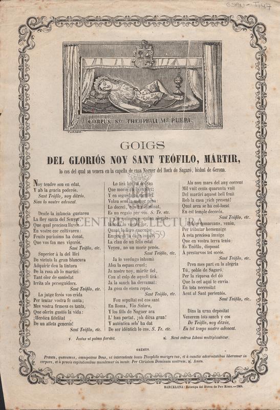 Goigs del gloriós noy Sant Teófilo, mártir, lo cos del qual se venera en la capella de casa Noguer del lloch de Sagaró, bisbat de Gerona