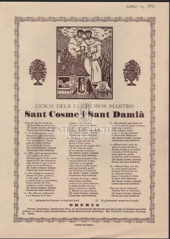 Goigs dels gloriosos martirs Sant Cosme i Sant Damià