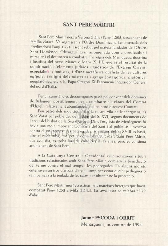 Goigs a lloança de Sant Pere Màrtir, advocat contra les pedregades que es té com a Sant Votat a la Vila de Menàrguens en la seva Església Parroquial