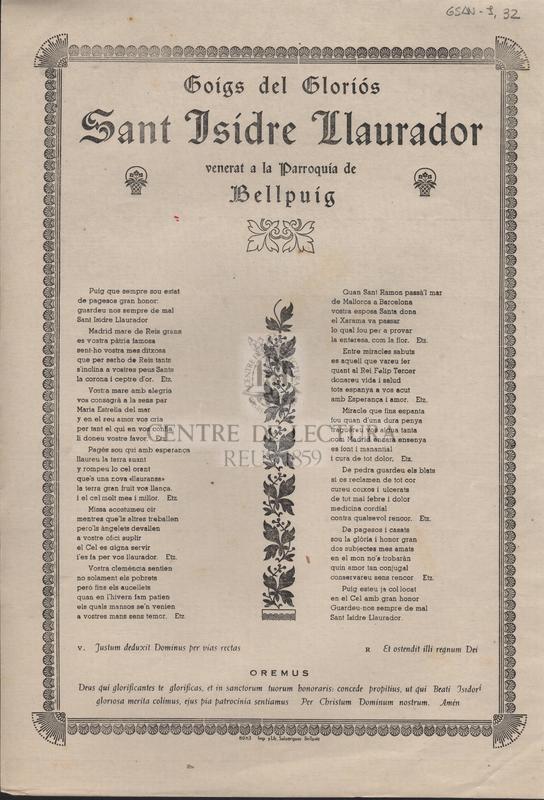 Goigs del gloriós Sant Isidre Llaurador venerat a la Parroquia de Bellpuig.