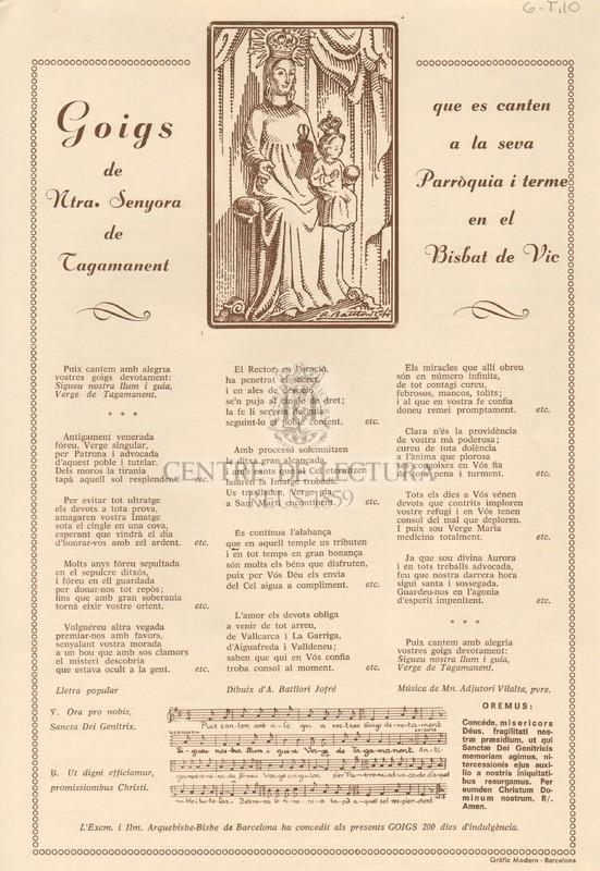 Goigs de Ntra. Senyora de Tagamanent que es canten a la seva Parròquia i terme en el Bisbat de Vic
