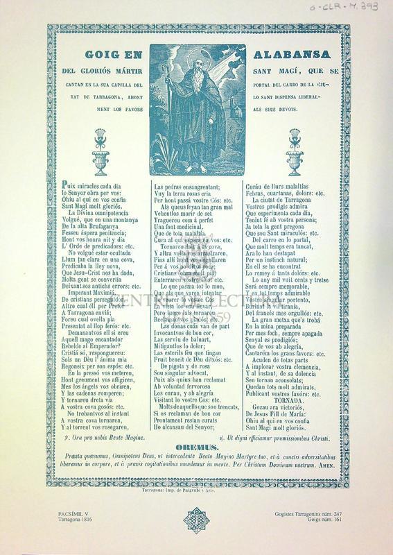 Goigs en alabansa del gloriós mártir Sant Magí, que se cantan en la sua capella del portal del carro de la ciutat de Tarragona, ahont lo sant dispensa liberalment los favors als seus devots