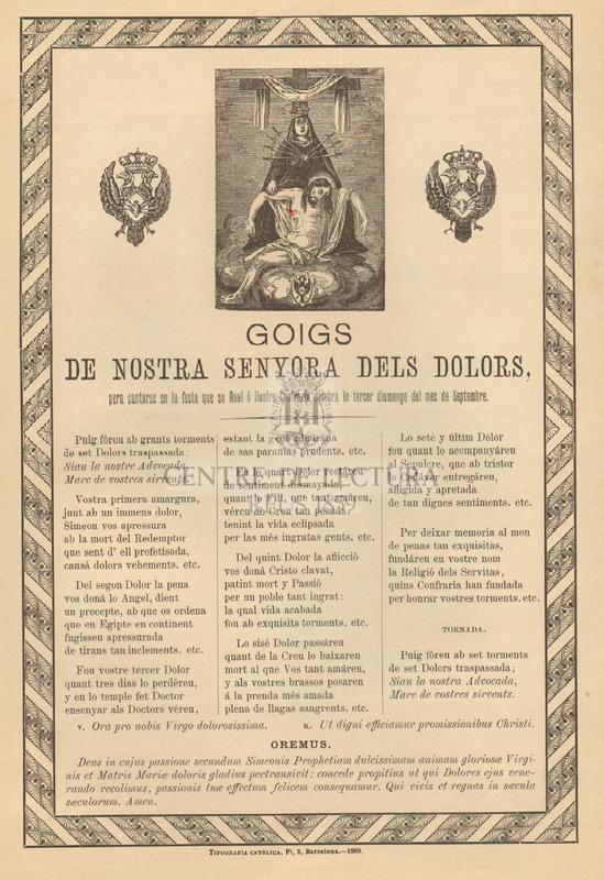 Goigs de Nostra Senyora dels Dolors, pera cantarse en la festa que sa Real é ilustre Confraría celebra lo tercer diumenge del mes de Septembre