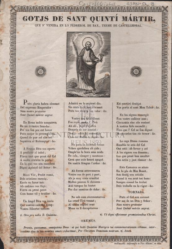 Gotjs de Sant Quintí mártir que's venera en lo Pedrerol de Bax, terme de Castellbisbal.