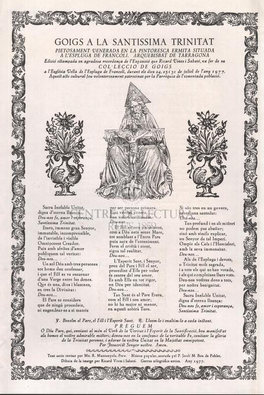 Goigs a la Santíssima Trinitat prietosament venerada en la pintoresca ermita situada a l'Espluga de Francolí. Arquebisbat de Tarragona