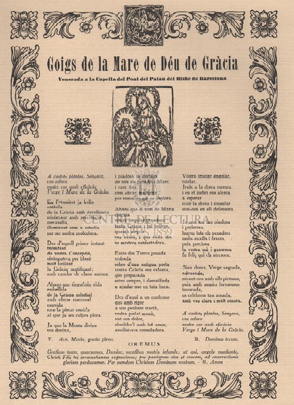 Goigs de la Mare de Déu de Gràcia venerada a la Capella del Pont del Palau del Bisbe de Barcelona