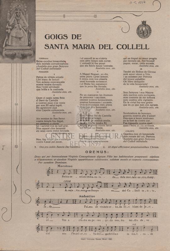 Goigs de Santa Maria del Collell.