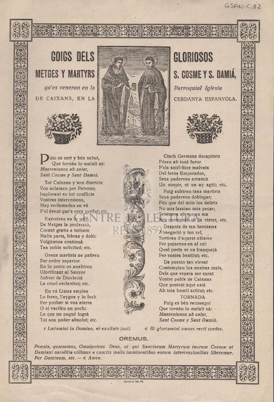 Goigs dels gloriosos metges y martyrs S. Cosme y S. Damià, qu'es veneran en la Parroquial Iglesia de Caixans, en la Cerdanya Easpanyola