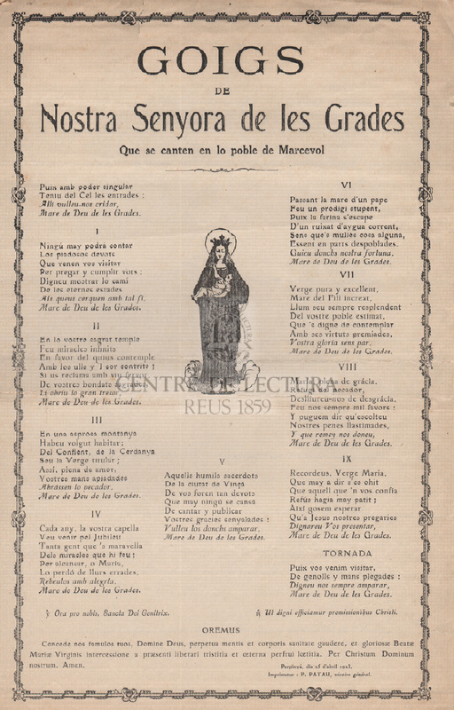 Goigs de Nostra Senyora de las Grades Que se canten en lo poble de de Marcevol