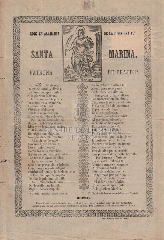 Goig en alabansa de la gloriosa V. Santa Marina, patrona de Pratdip