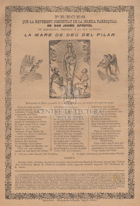 Preces que la reverent comunitat de la iglesia de parroquial de Sant Jaume Apóstol de Barcelona, dirigeig á la sua Patrona la Mare de Deu del Pilar