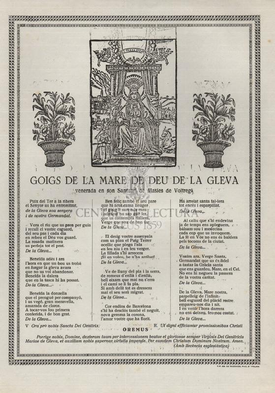 Goigs de la Mare de Deu de la Gleva venerada en son Santuari de Masies de Voltregà