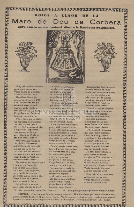 Goigs a llaor de la Mare de Deu de Corbera que's venera en son Santuari situat a la Parròquia d'Espinalbet