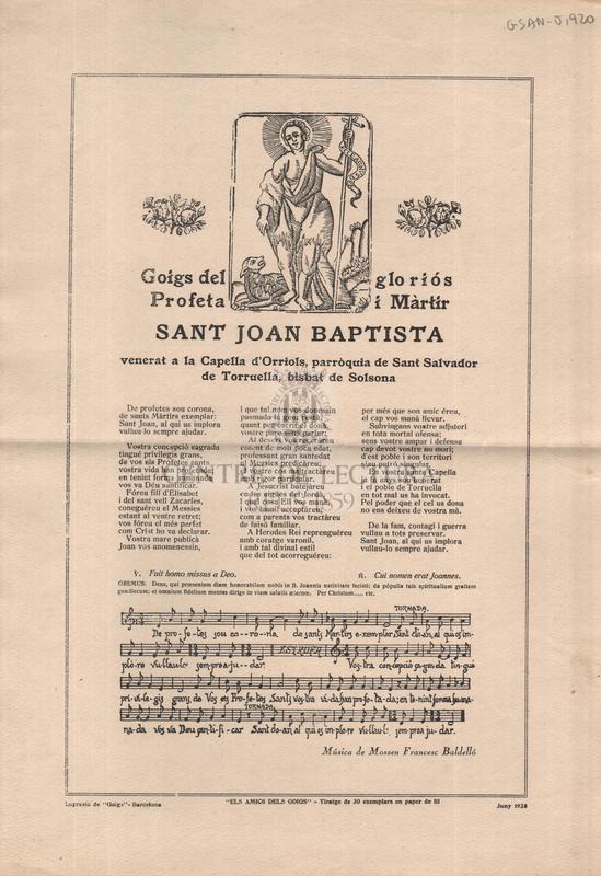 Goigs del gloriós Profeta i Màrtir sant Joan Baptista venerat a la Capellad'Orriols, parròquia de Sant Salvador de Torruella, bisbat de Solsona