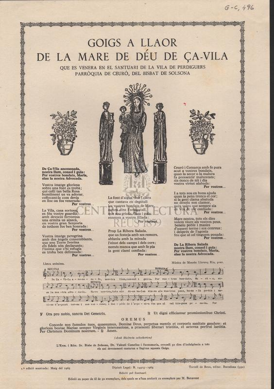Goigs a llaor de la Mare de Déu de Ça-Vila que es venera en el santuari de la vila de Perdiguers parròquia de Ceuró, del Bisbat de Solsona.