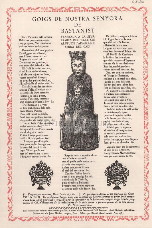 Goigs de Nostra Senyora de Bastanist, venerada a la seva ermita del segle XIII, al peu de l'admirable Serra del Cadí