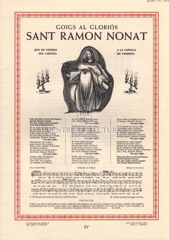 Goigs al gloriós Sant Ramon Nonat, que es venera a la capella del Castell de Cardona