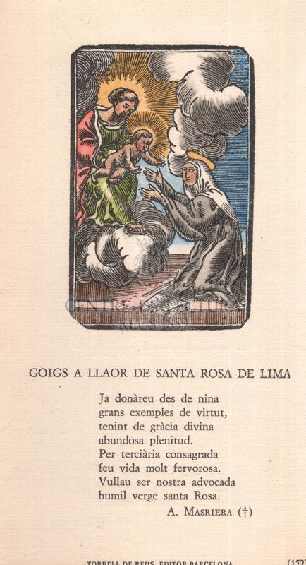 Goigs a llaor de santa Rosa de Lima
