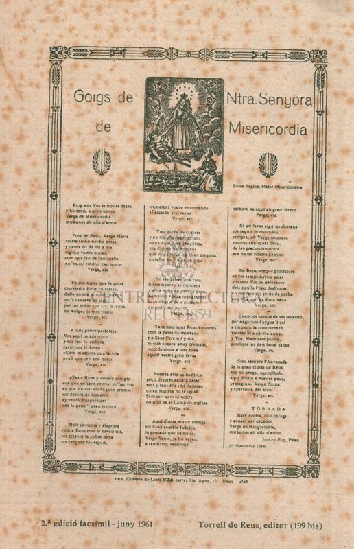 Goigs de Ntra Senyora de Misericòrdia. Salve Regina, mater Misericordiae