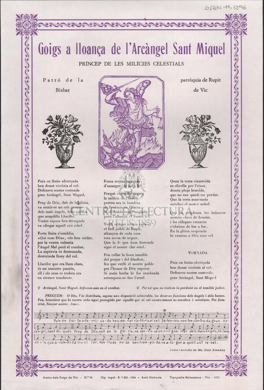 Goigs a lloança de l'Arcàngel Sant Miquel príncep de les milícies celestials Patró de la parròquia de Rupit Bisbat de Vic