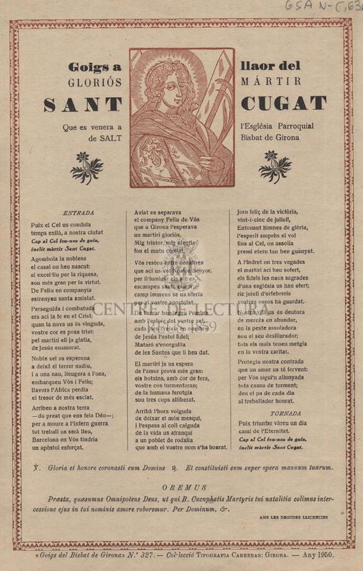 Goigs a llaor del gloriós mártir Sant Cugat que es venera a l'Església ParroquIal de Salt Bisbat de Girona