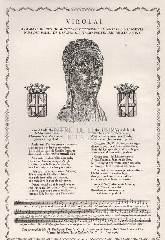 Virolai a la Mare de Deu de Montserrat venerada al salo del seu mateix nom del palau de l'Excma. diputacio provincial de Barcelona
