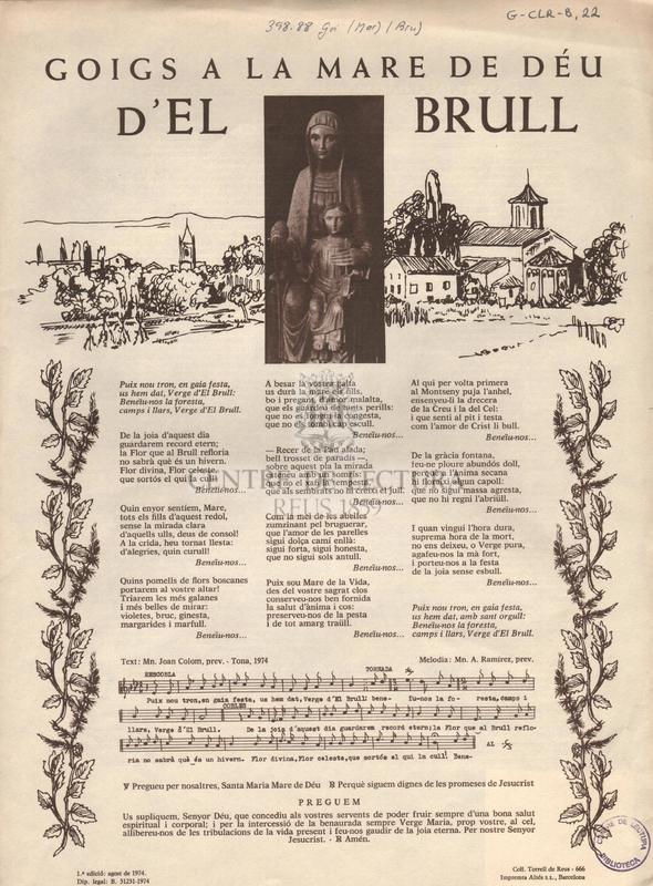 Goigs a la Mare de Déu d'El Brull.