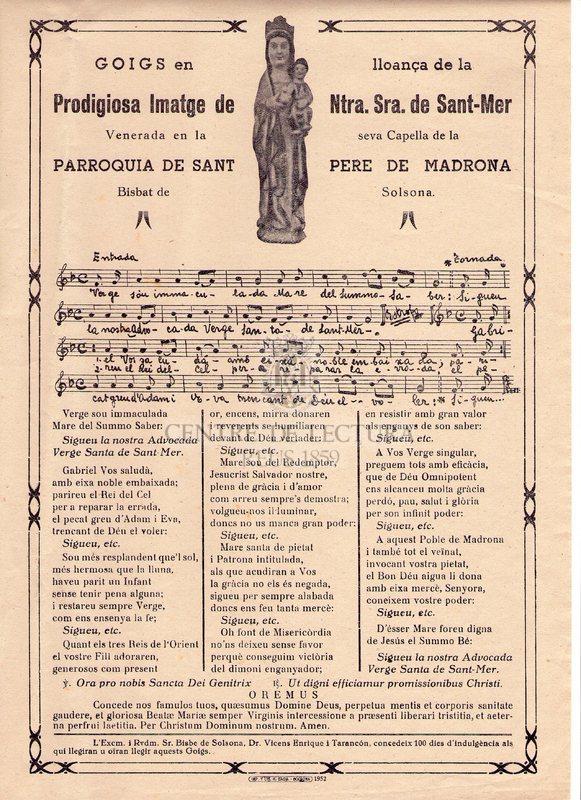 Goigs en lloança de la prodigiosa Imatge de Ntra. Sra. de Sant-Mer Venerada en la seva Capella de la Parroquia de Sant Pere de Madrona. Bisbat Solsona