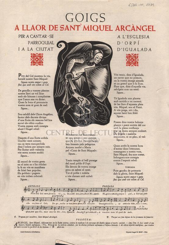 Goigs a llaor de Sant Miquel Arcàngel per cantar-se a l'esglesia parroquial d'Orpí i a la ciutat d'Igualada