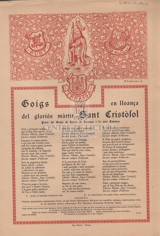 Goigs en lloança del gloriós màrtir Sant Cristòfol, patró del Gremi de Xofers de Terrassa i la seva Comarca