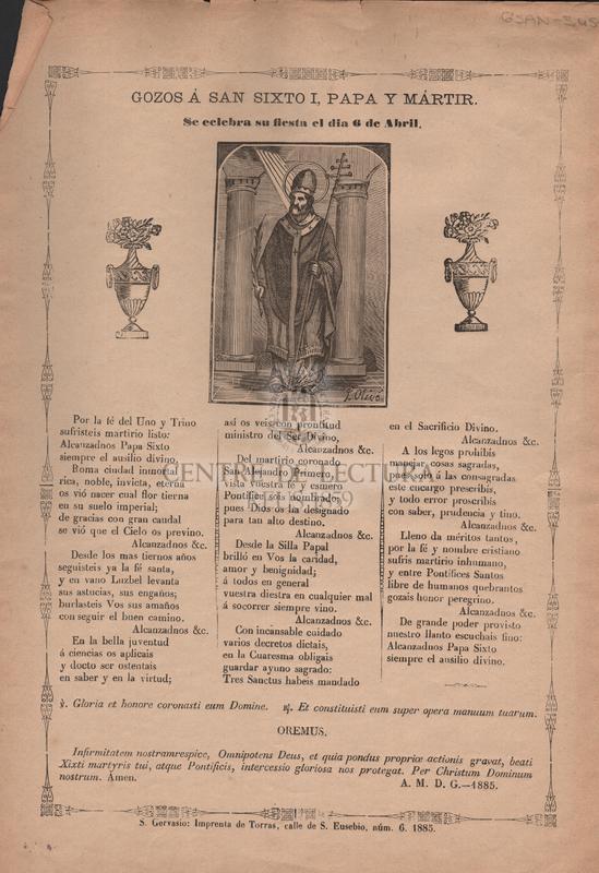 Gozos a san Sixto I, papa y mártir
