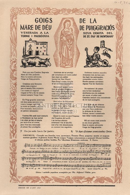 Goigs a llaor de Nostra Senyora de Puig-Graciós la sagrada Imatge de la qual és constantment venerada en sa pròpia Capella del terme i Parròquia de Sant Pau de Montmany Bisbat de Barcelona.
