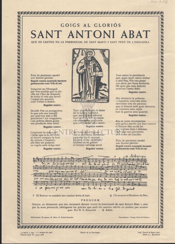 Goigs al gloriós Sant Antoni Abat que es canten en la parroquial de Sant Marti i Sant Pere de l'Esglaiola.