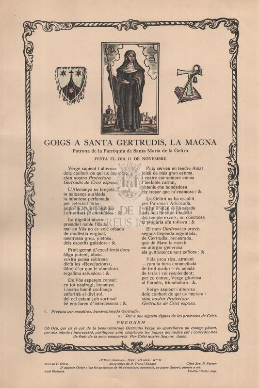 Goigs a santa Getrudis, la Magna, Patrona de la Parròquia de Santa Maria de la Geltrú, festa el dia 17 de novembre