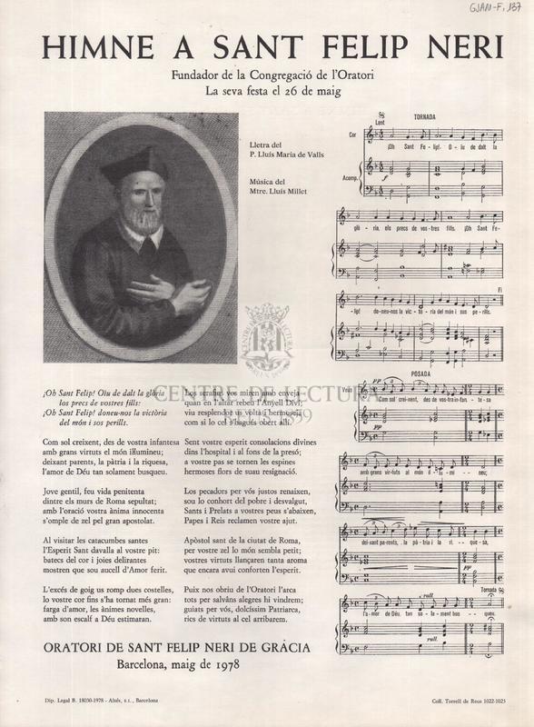 Himne a Sant Felip Neri, fundador de la Congregació de l'Oratori. La seva festa el 26 de maig