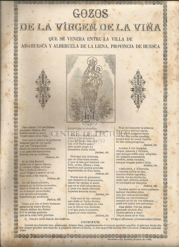 Gozos de la Virgen de la Viña que se venera entre la Villa de Adahuesca y Alberuela de la Liena, provincia de Huesca