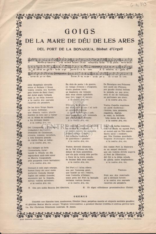 Goigs de la Mare de Déu de les Ares del port de la Bonaigua, Bisbat d'Urgell