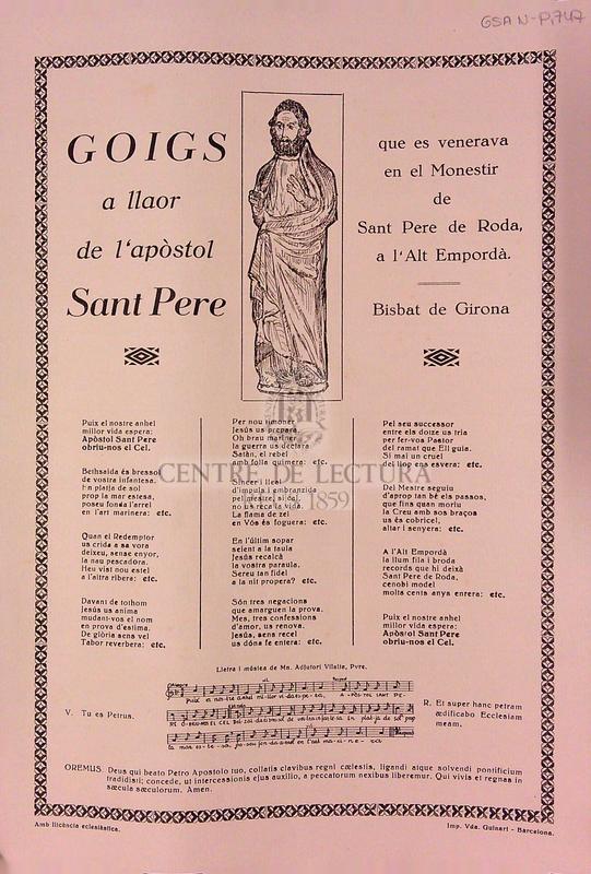 Goigs a llaor de l'apòstol Sant Pere que es venerava en el Monestir de Sant Pere de Roda, a l'Alt Empordà. Bisbat de Girona