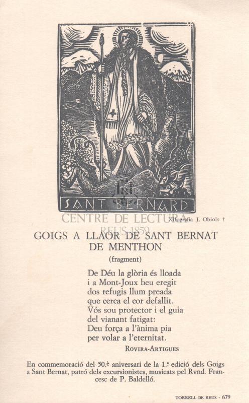 Goigs a llaor de Sant Bernat de Menthon