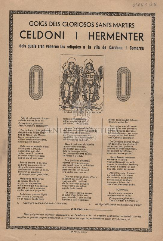 Goigs dels gloriosos sants martirs Celdoni i Hermenter dels quals s'en veneren las relíquies a la vila de Cardona i Comarca