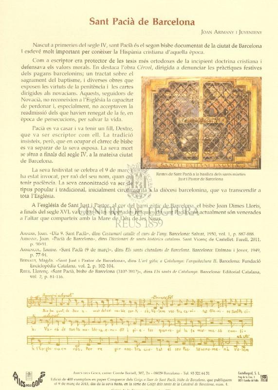 Goigs a llaor de Sant Pacià, gloriós bisbe de Barcelona