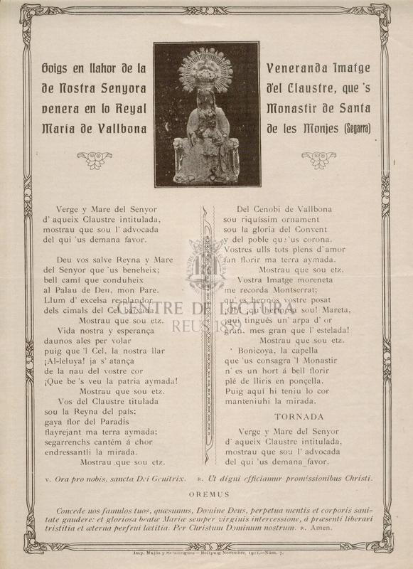 Goigs en llahor de la Venerada Imatge de Nostra Senyora del Claustre, que's venera en lo Reyal Monastir de Santa Maria de Vallbona de les Monges (Segarra)